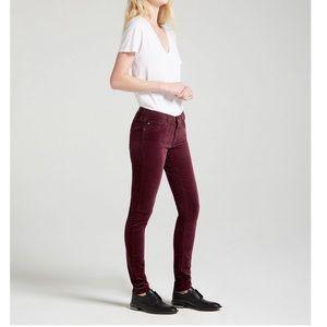 A.G The Legging Super Skinny Wine Velvet Pants 27